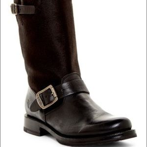 FRYE Veronica Short Black Leather Calf Hair Boots